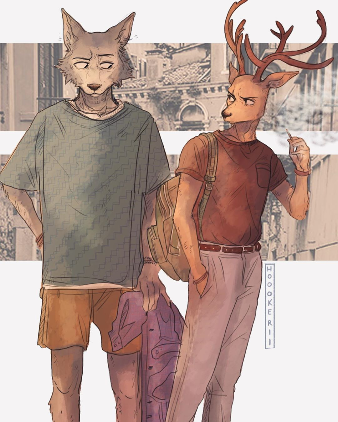 """Hoookerii 🌿🌱 on Instagram: """"I'll post the full one in my story because it cropped out their feet 😭anyhow....the boys. 🐺🦌✨👌🏻 #art #artist #artwork #digitalart…"""""""