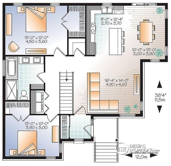 W3133-V2 - Modèle de maison contemporaine avec grand îlot et espace