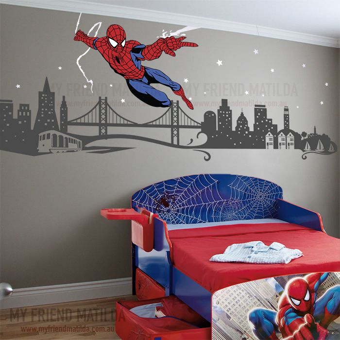 spiderman boys wall decal themed room spider man removable wall decals themed rooms and. Black Bedroom Furniture Sets. Home Design Ideas