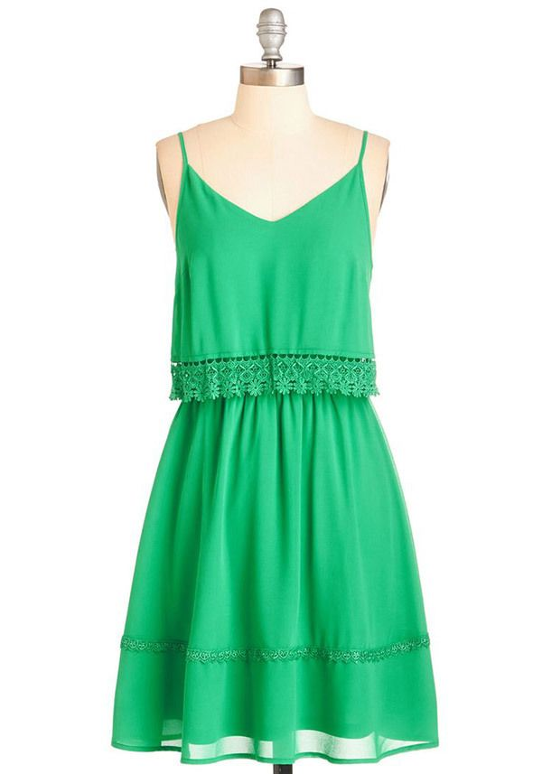 Green scalloped spaghetti strap dress from ModCloth @myweddingdotcom