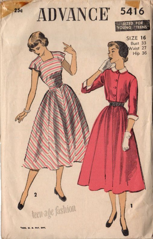 Vintage 1950s Advance Sewing Pattern 5416 Teen Dress and Jacket Bust ...