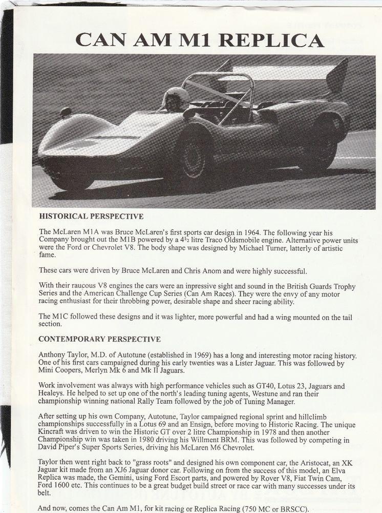 Details about AUTOTUNE LTD M1 RACER KIT CAR McLAREN CAN-AM