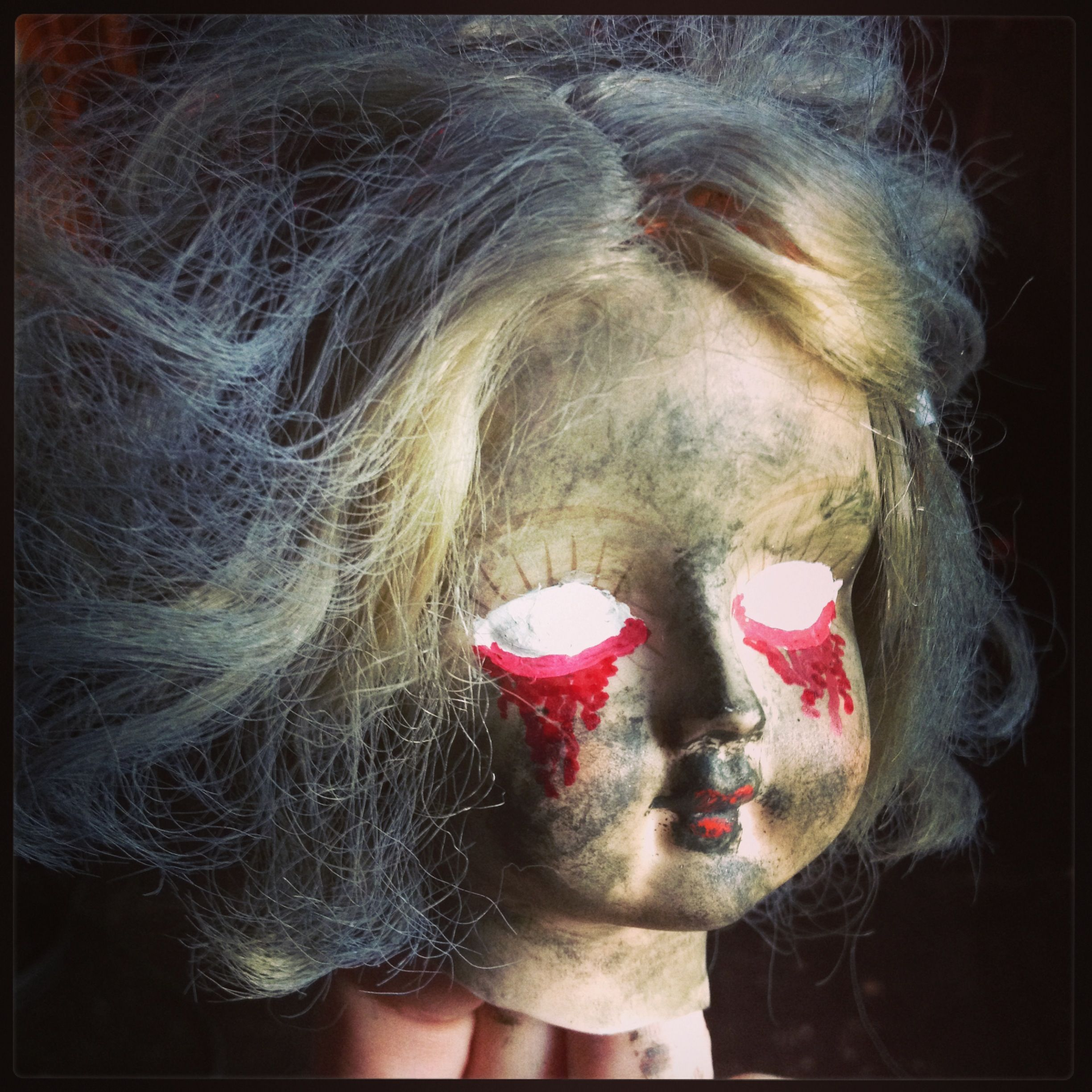Creepy Halloween dolly, made from broken porcelain