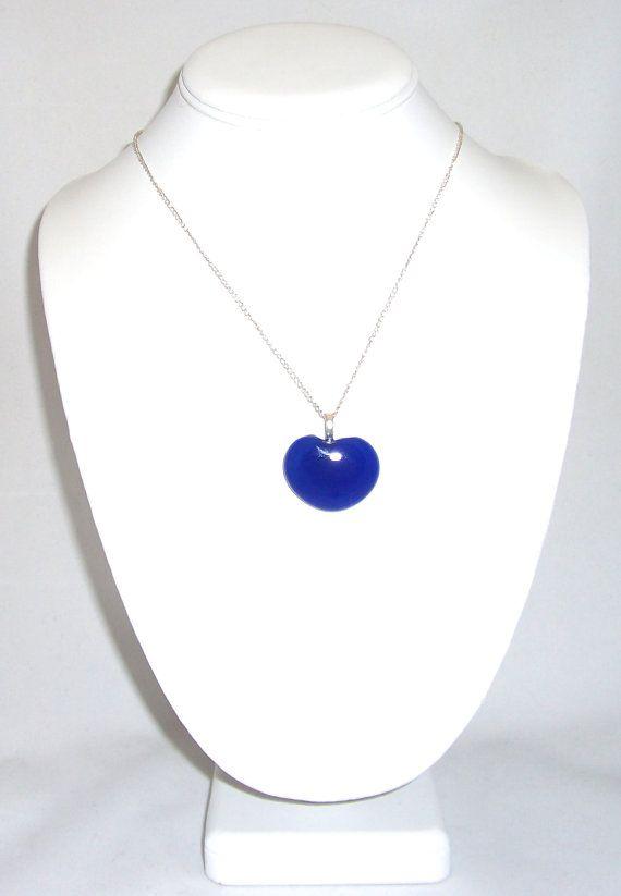Cobalt blue heart necklace Heart Glass Pendant by elkescreations, $14.00