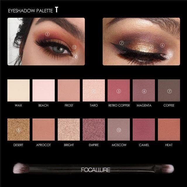 Fine Focallure 6 Colors Eyeshadow Palette Glamorous Smokey Color Eye Shadow Shimmer Glitter Smooth Creamy Powder Makeup Eye Shadow Beauty Essentials Beauty & Health