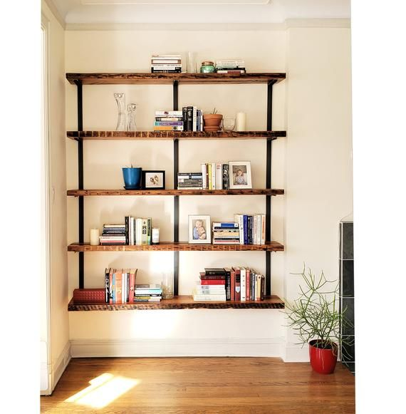 reclaimed wood bookshelf wall mount bookcase wood on wall mount bookshelf id=32387