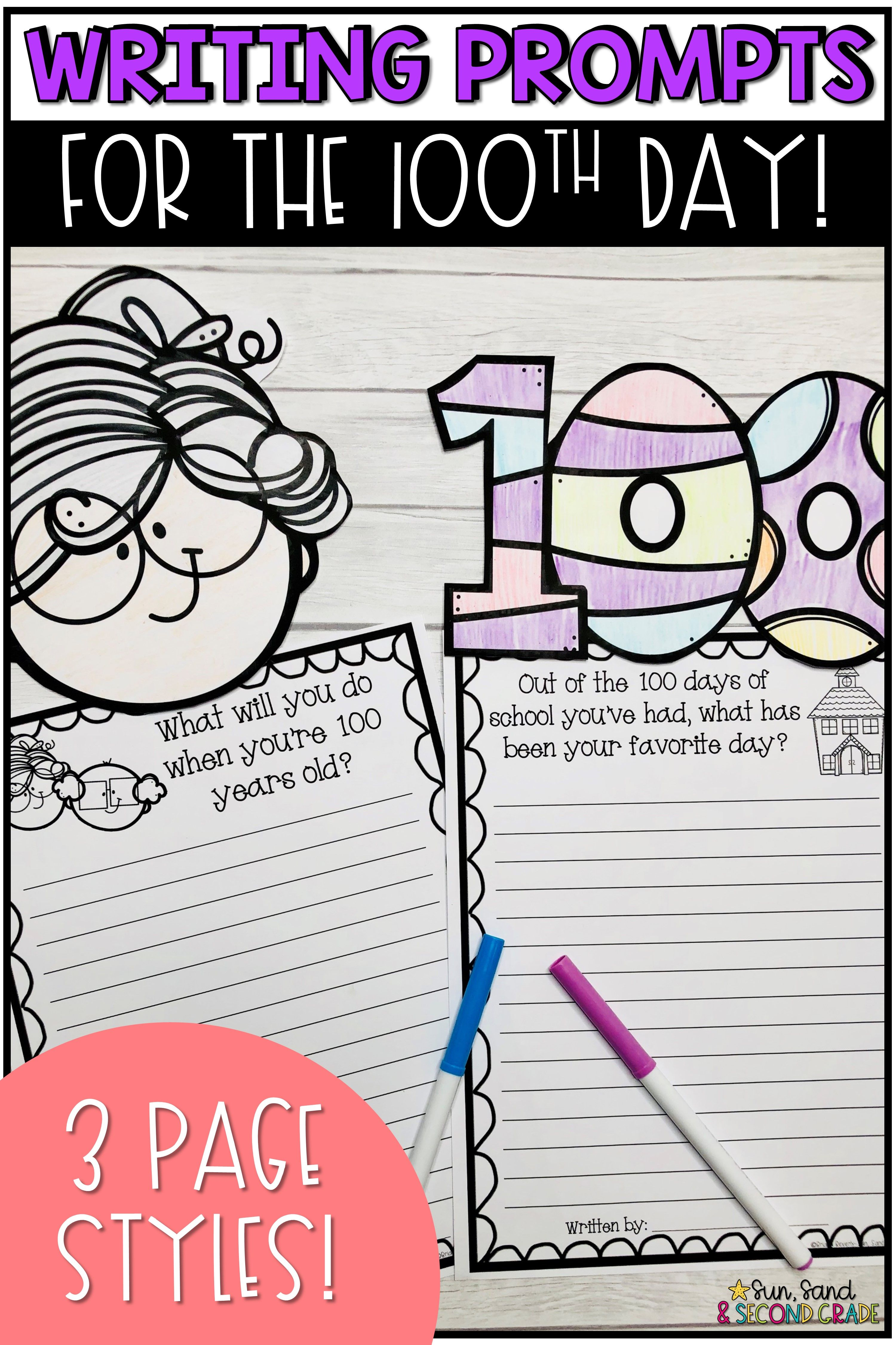 100th Day Of School Writing Prompts Amp Page Topper