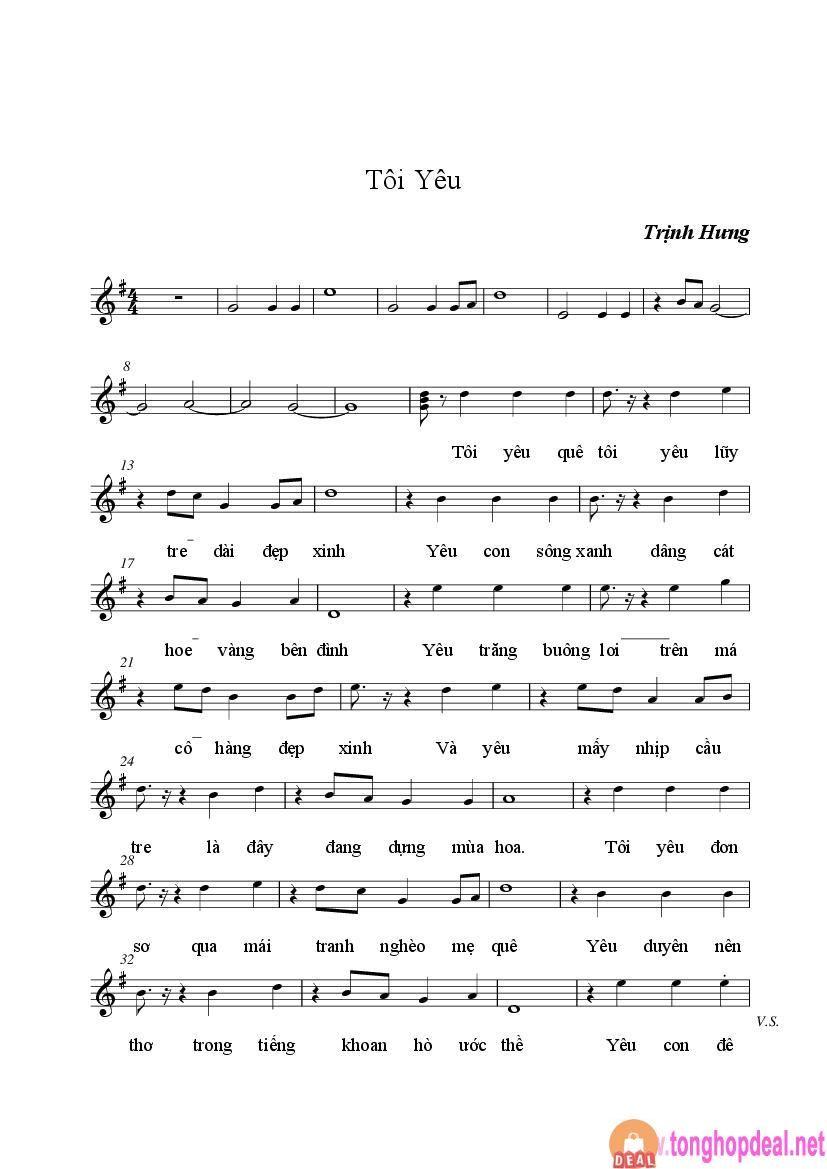 Tôi Yêu Tác giả Trịnh Hưng (Sheet bài hát)
