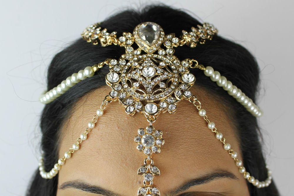 DIAMANTE & PEARL HAIR HEAD CHAIN HEADPIECE HEAD JEWELLERY MATHA PATTI TIKKA #HeadChain
