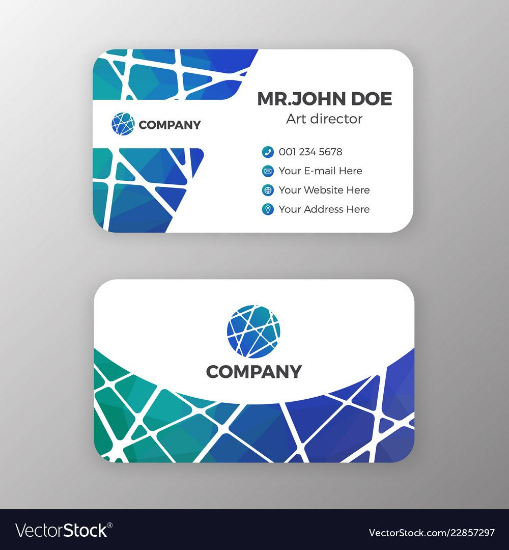 Abstract Mesh And Polygonal Name Card Template Vector Image On Vectorstock Birthday Card Template Free Name Cards Pop Up Card Templates