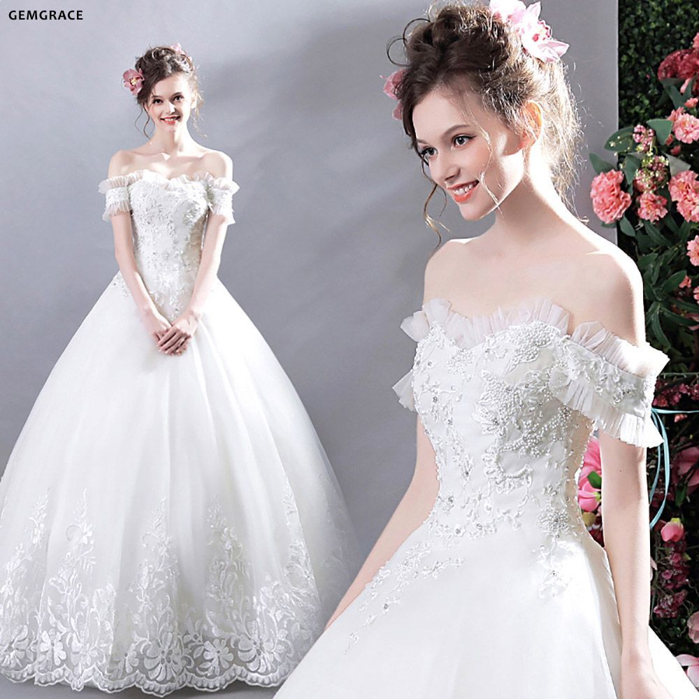 e6fd9bc2654 Gorgeous White Lace Trim Ball Gown Wedding Dress Off Shoulder ...