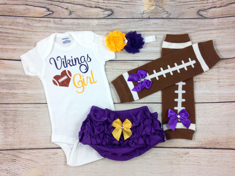 561b4573d Minnesota Vikings Baby Girl Football Outfit, Vikings Baby Girl Cheerleader  Game Day Outfit, MN