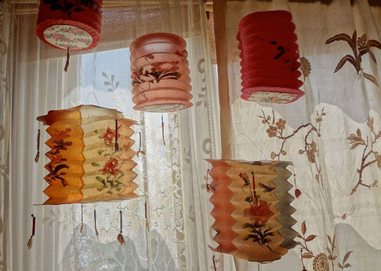 Handpainted Vintage Lightshade 1950's Oriental Paper Lanterns. £69.99, via Etsy.