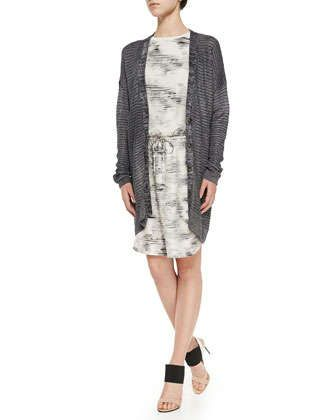 Metallic Knit Button-Front Cardigan & Sleeveless Marble-Print Dress by Vince at Neiman Marcus.