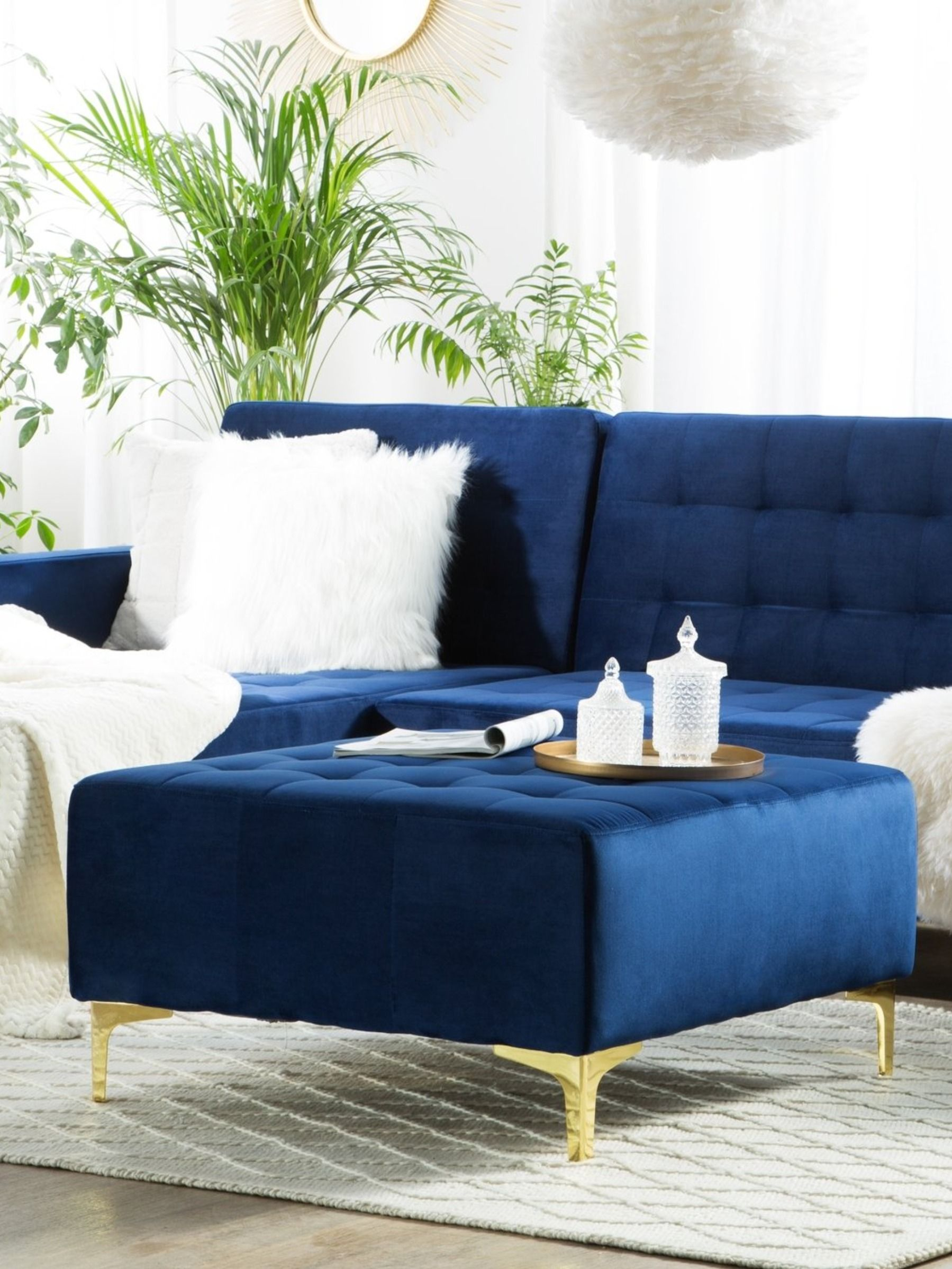 Velvet Ottoman Navy Blue Aberdeen In 2020 Blue Sofa Set Blue Sofas Living Room Blue Ottoman #royal #blue #sectional #living #room