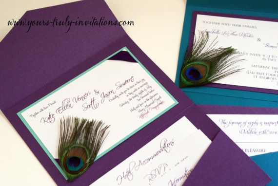 Peacock Feather Wedding Invitation Suite With Corner Feather In