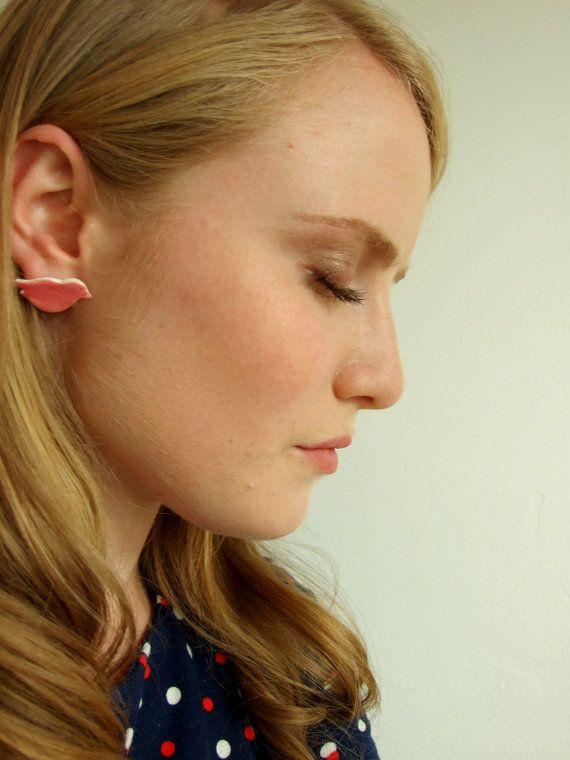 Pink bird earrings ceramic stud posts Pastel by damsontreepottery