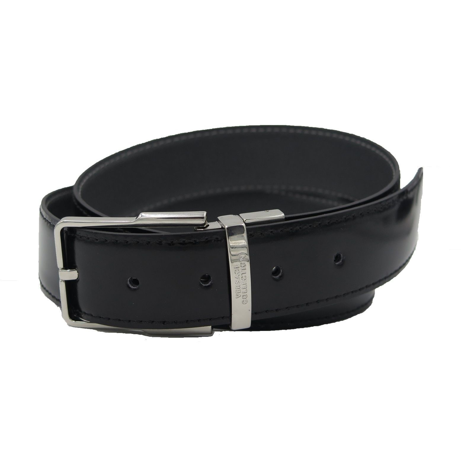 Versace Collection Black  Grey Leather Reversible Adjustable Belt ... bba3443e22b