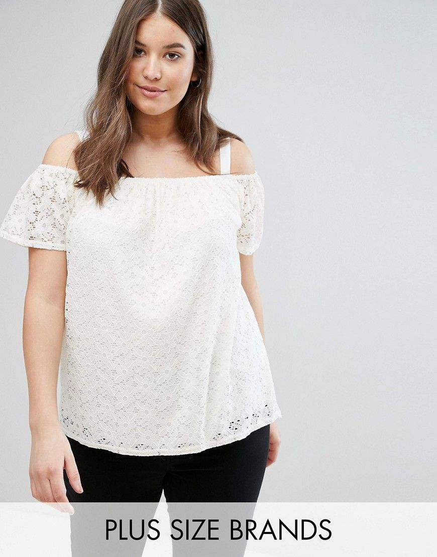 635149c29d2 Buy it now. New Look Plus Lace Bardot Cami Top - White. Plus-size top by New  Look Plus