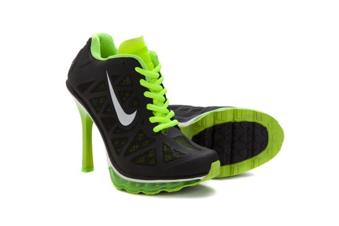 2014 Nike Air Max Cushioning Womens Heels Boots Black Green
