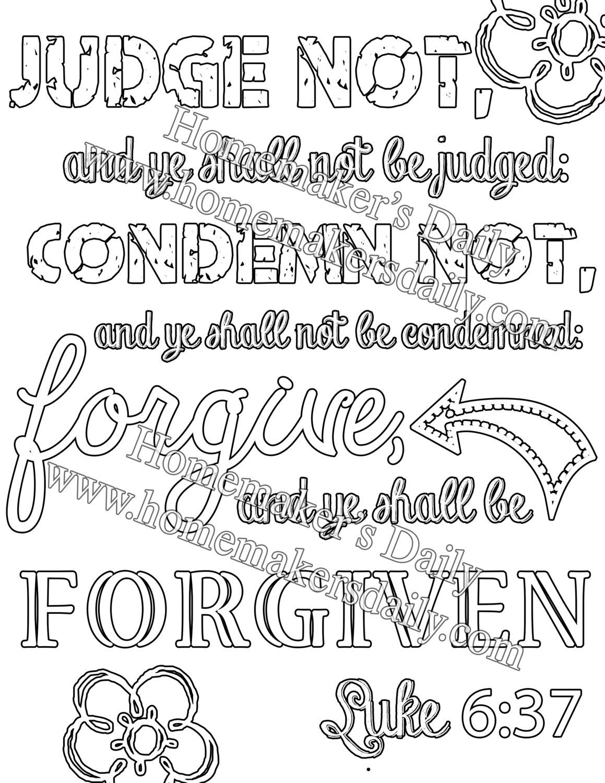 Luke 6 37 Kjv Scripture Coloring Sheets By Homemakersdaily