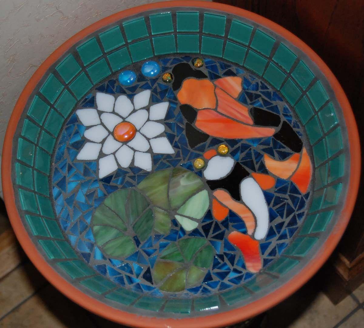 Koi pond bird bath stained glass mosaic art koi mosaics for Koi fish pool table
