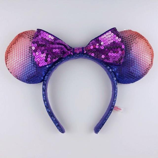 Photo of Disney Headband Minnie Ears For Women Mermaid Ariel Headdress Cartoon Anime Disneyland Mickey Mouse Bow Sequins Hair Hoop – M