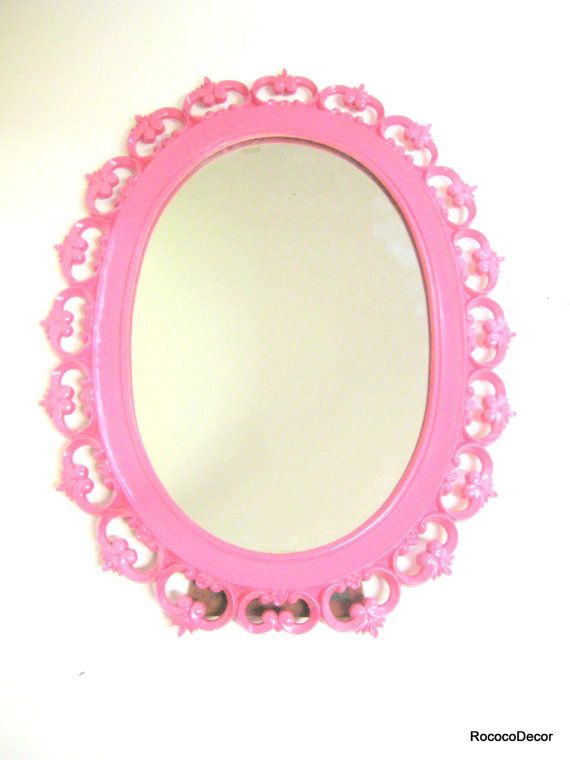 Pink Wall Mirror vintage mirror hot pink hollywood regency syroco ornate vintage