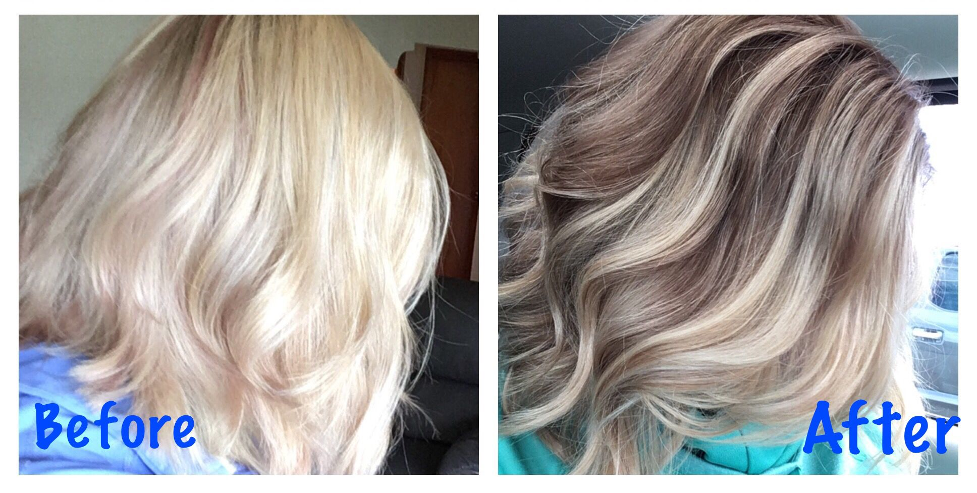 Before And After Color Correction For Over Highlighted Hair Lowlights Added In A Reverse Color Balayage Hair Highlights Color Correction Hair Reverse Balayage