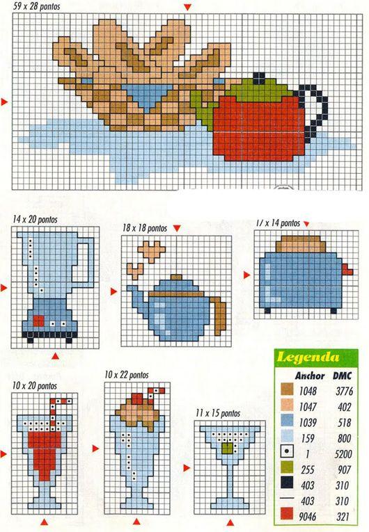 Image result for ponto cruz graficos gratis motivos cozinha ...