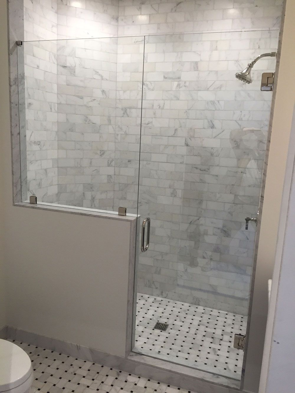 Door With Panel On Knee Wall Medford Glass Shower Shower