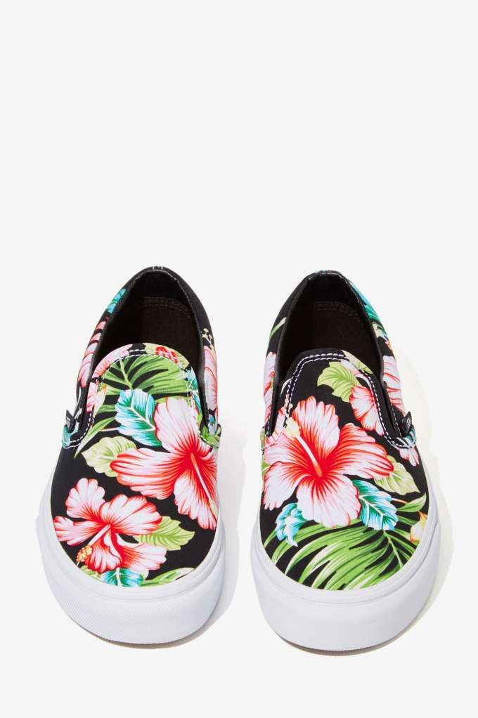 Vans Classic Slip On Sneaker Black Hawaiian Floral Shoes