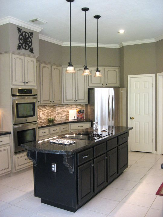 Painted Cabinets With Inking Then Made Island Longer And Painted