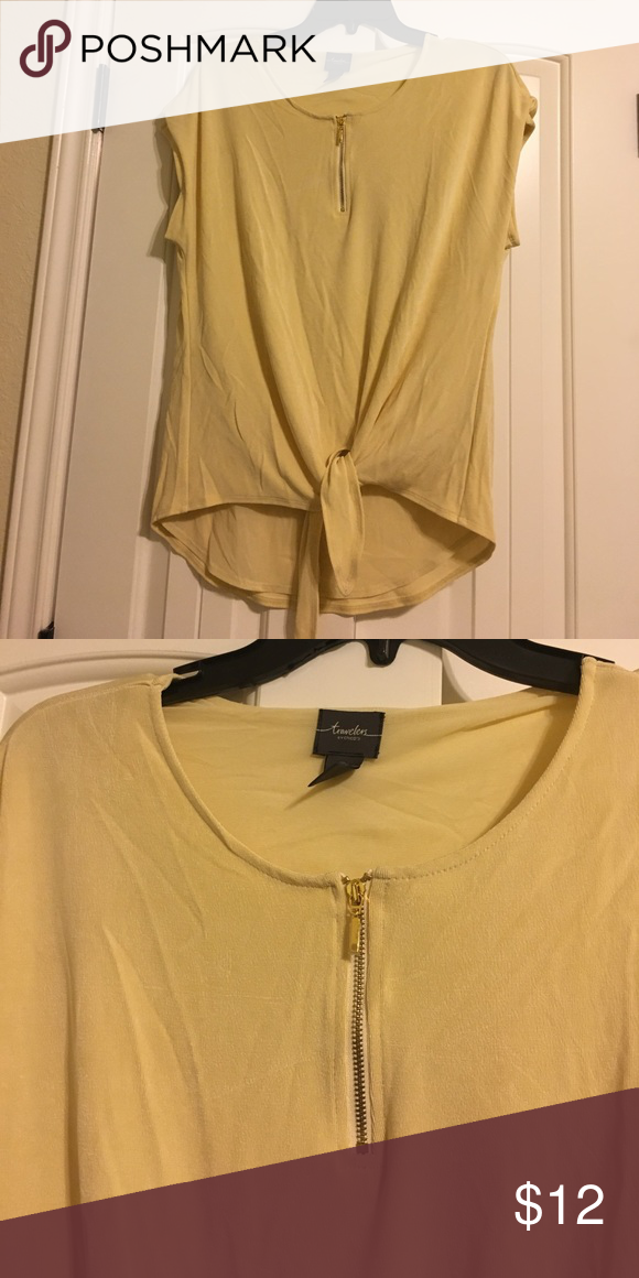 Chico's Yellow Tie Blouse NWOT never worn. Super cute & never goes out of style! Chico's Tops Blouses