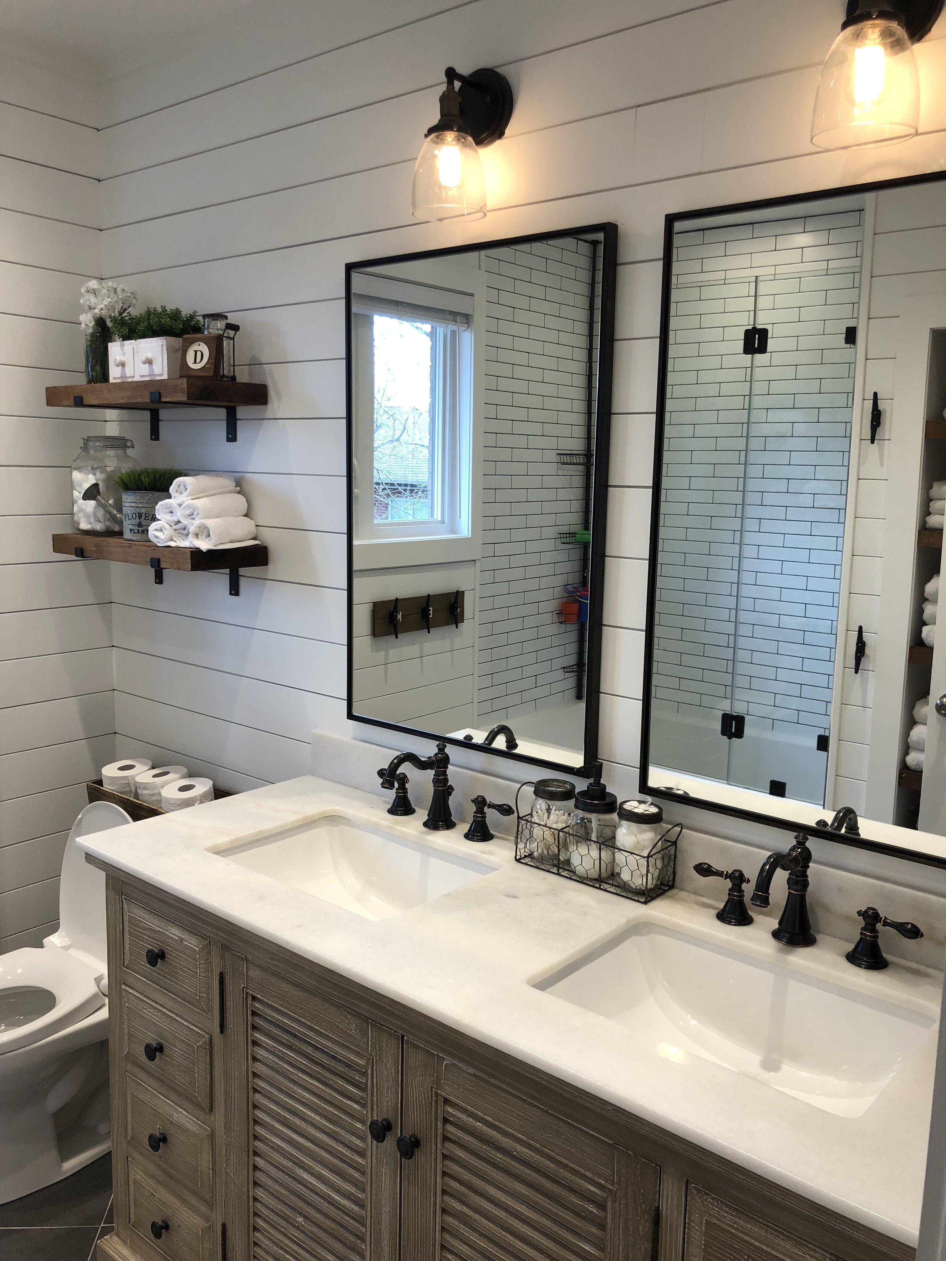 Modern Farmhouse Bathroom with wood vanity, shiplap walls