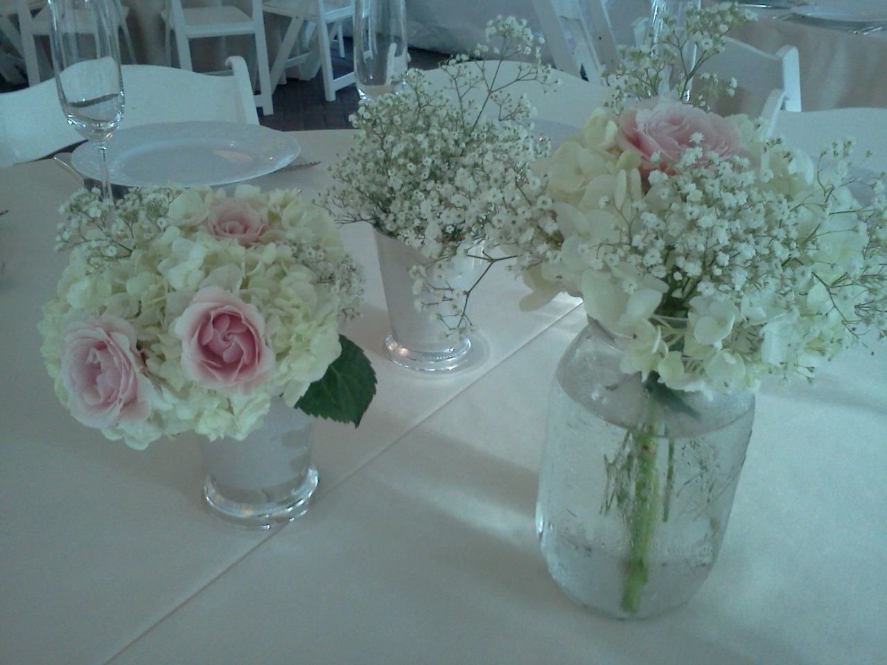 Babies breath rose hydrangea mason jar silver