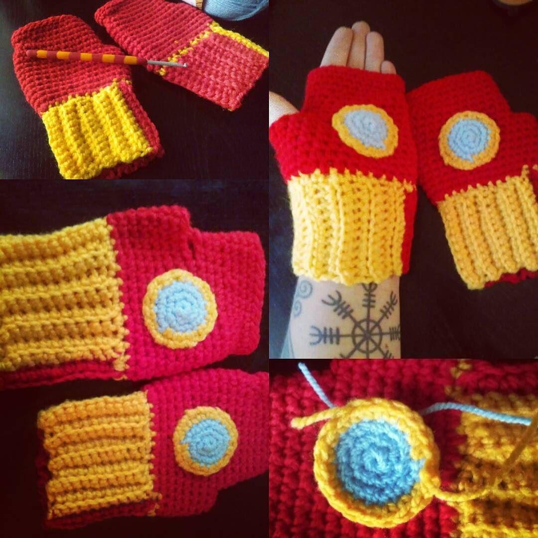 Alice In Zombieland On Instagram Iron Man Gloves Crochet Ironman Yarnaddict Handcraft Ganchillo Hakeln Haken Virka H Yarn Addict Crochet Handcraft