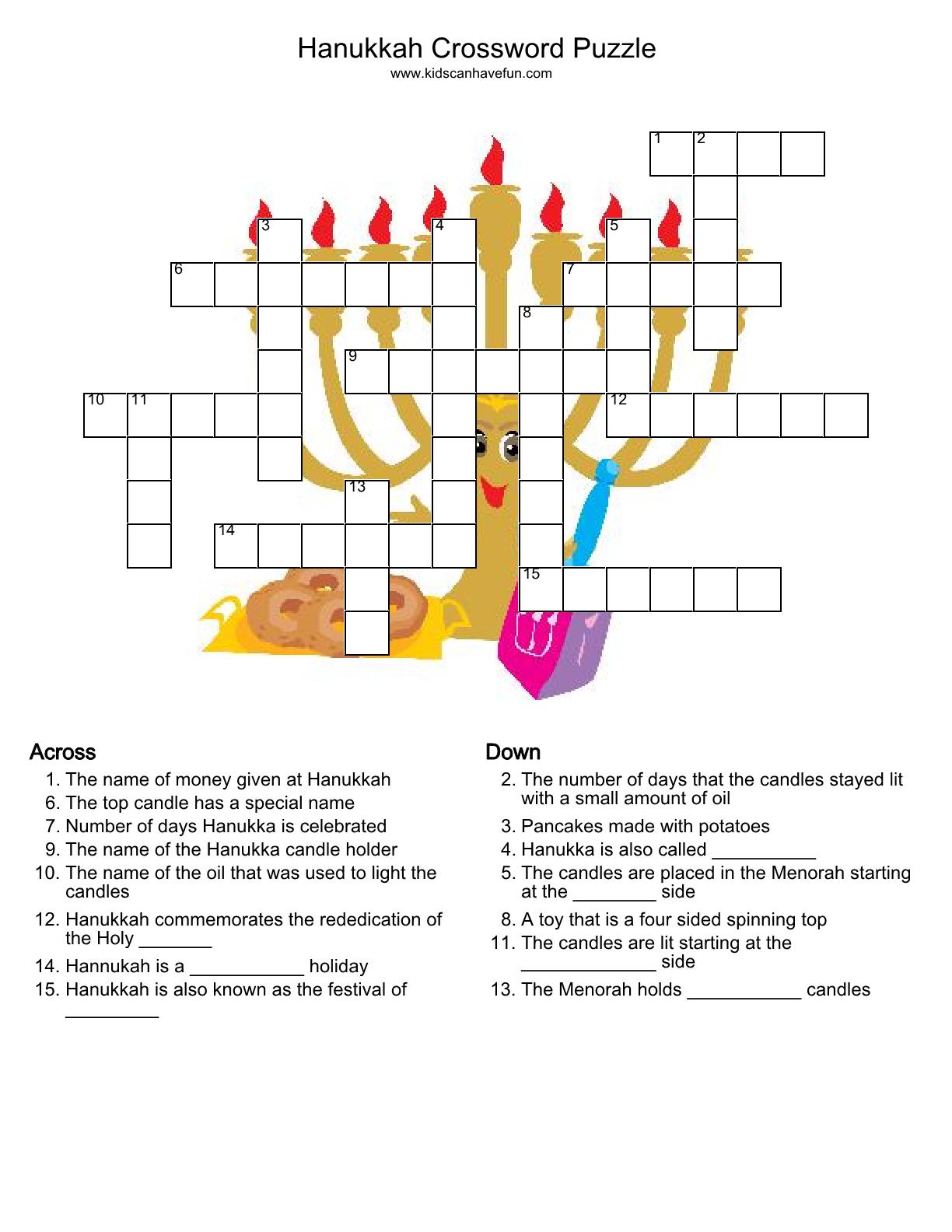 Hanukkah Crossword Puzzle http://www.kidscanhavefun.com/crosswords ...