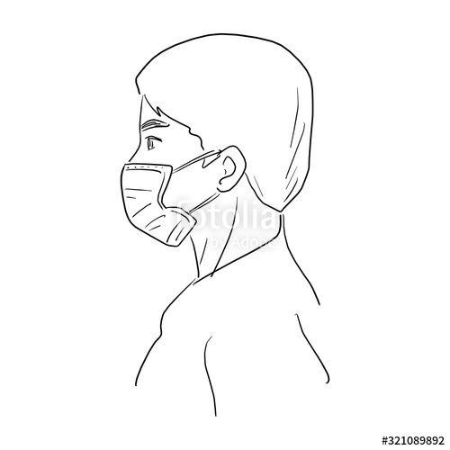 side view of man wearing medical mask vector illustration ...