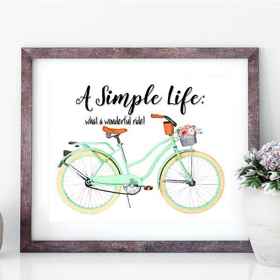 #SimpleLife #BicycleArt #RideaBike Retro Mint Green Bicycle Art Print Beach Cruiser Simple Life