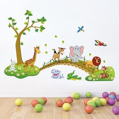 Simple Wandtattoo Baum Wandsticker Kinderzimmer Zoo Blumen V gel Tiere Kinder Deko Baby