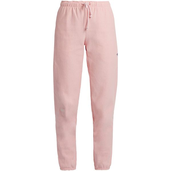 Vetements X Champion cotton-blend track pants (1.809.935 COP) ❤ liked on Polyvore featuring activewear, activewear pants, pants, jeans, pantalones, sweats, pink and track pants