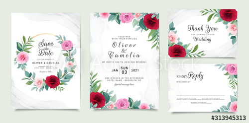 Set Of Card With Flowers Invitation Template Set With Floral F In 2020 Elegant Wedding Invitation Card Wedding Invitation Card Template Floral Wedding Invitation Card