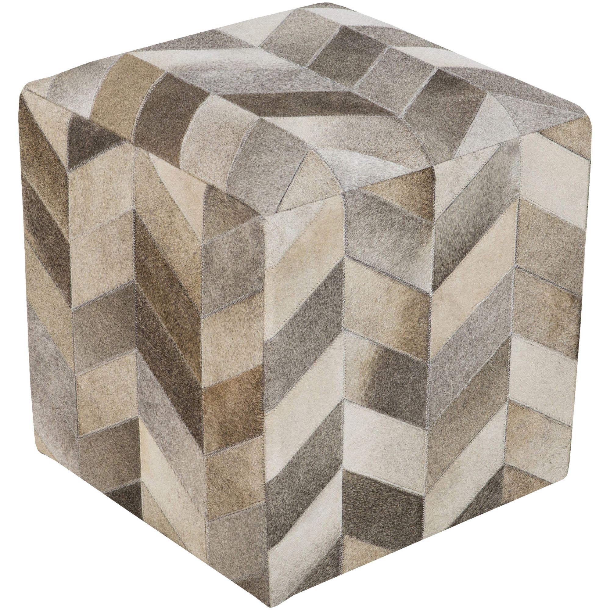Heather Leather Pouf
