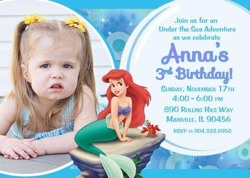Little Mermaid Ariel Birthday Party Invitation Digital Printable