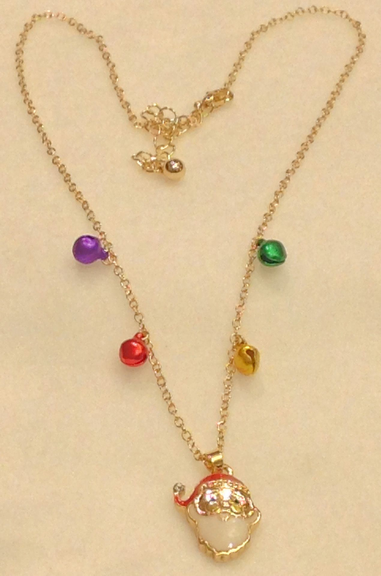 Christmas Santa Claus Jingle Bell Chain Necklace Gold Tone - Antique & Collectible Exchange ...