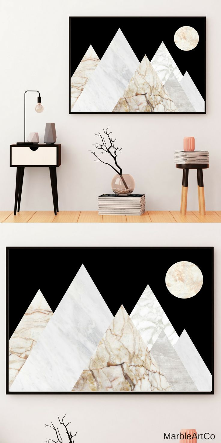 Moon mountain landscape framed wall art horizontal large wall art