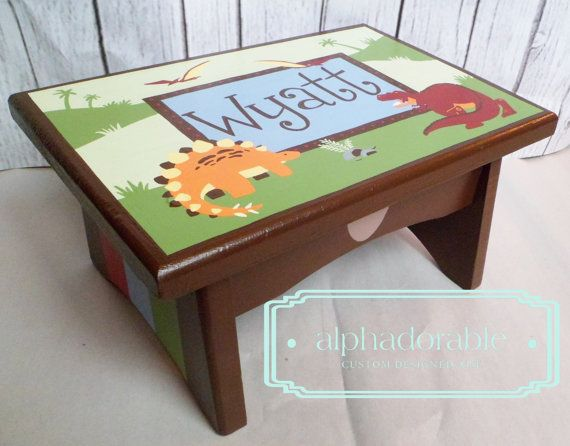 Personalized Wooden Dinosaur Step Stool Nursery Step Stools ...