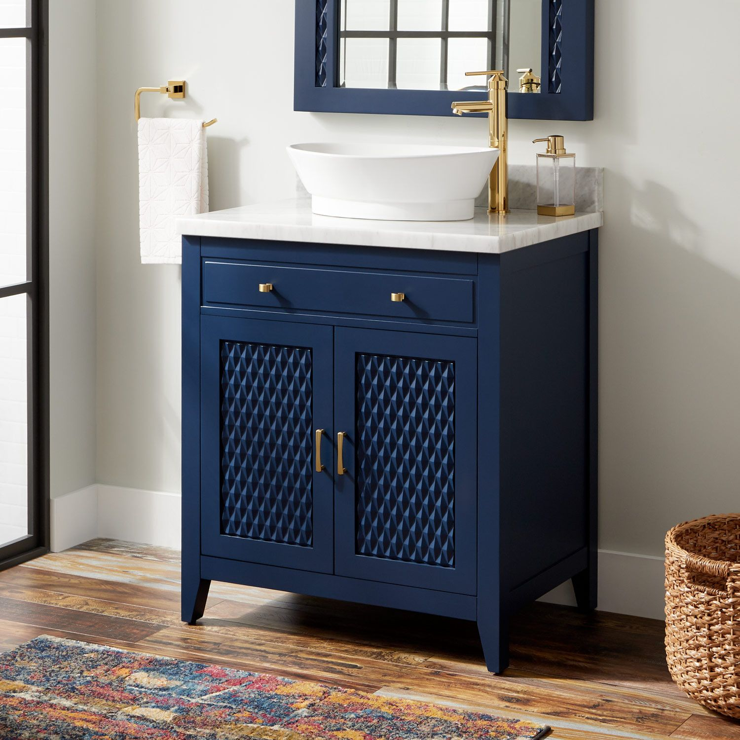 30 Thorton Mahogany Vessel Sink Vanity Bright Navy Blue
