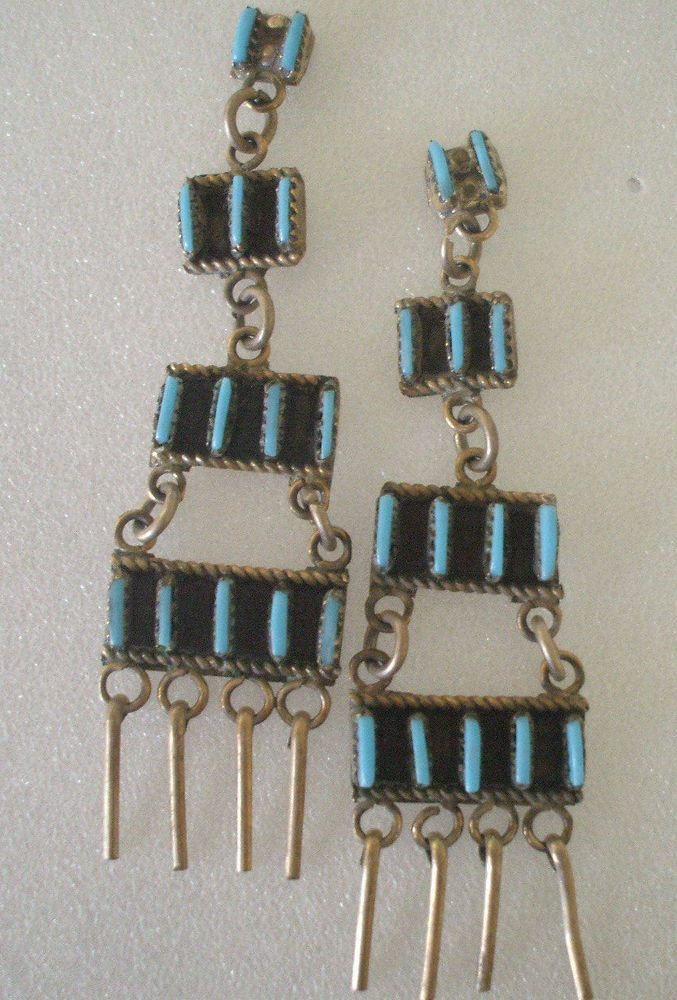 Vintage ZUNI Sterling Silver & TURQUOISE Needlepoint Chandelier Ladder EARRINGS #AUTHENTICVINTAGENATIVEAMERICANJEWELRY